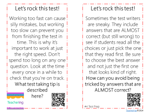 test taking task cards free
