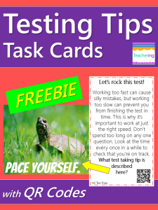 Test Taking Tips Task Cards with QR codes